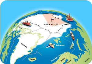 De Noordpool getekend door Rene van Asselt