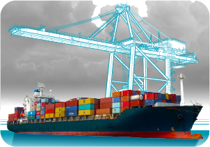 Een containerschip wordt geladen, ilustratie vor Robeco or Rene vanAsselt